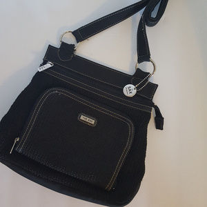 The SAK Original Cross Body Bag Crochet Black EUC